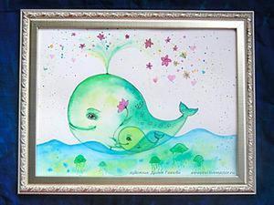 Рисуем акварелью картину для детской «Китёнок с мамой». Ярмарка Мастеров - ручная работа, handmade.