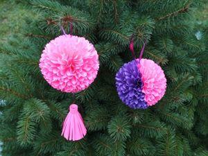 Пушистые елочные шарики из бумаги. Ярмарка Мастеров - ручная работа, handmade.