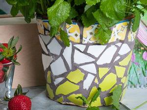 Декорируем цветочный горшок мозаикой из битой посуды. Ярмарка Мастеров - ручная работа, handmade.