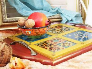 Декор восточного подноса с керамическими плитками. Ярмарка Мастеров - ручная работа, handmade.