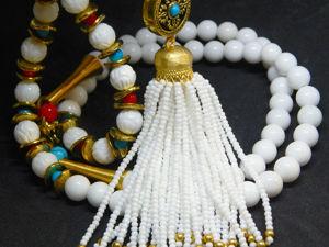Сотуар с кистью и серьги белый с золотом. Ярмарка Мастеров - ручная работа, handmade.