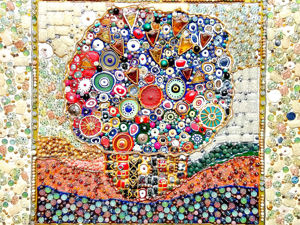 Декоративное панно из камней и муранского стекла Букет с цветами и ягодами. Ярмарка Мастеров - ручная работа, handmade.