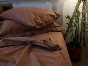 Льняное постельное белье коричневое. Ярмарка Мастеров - ручная работа, handmade.