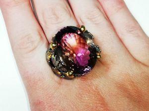 Скидка 20% Кольцо  «Пурпурный Закат»  с природным аметрином. Ярмарка Мастеров - ручная работа, handmade.