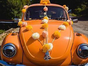 How to Make Pom-Poms to Decorate a Wedding Car. Livemaster - hecho a mano - handmade.