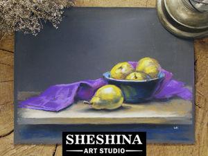 Видеоурок: рисуем натюрморт с грушами и яркой драпировкой сухой пастелью. Ярмарка Мастеров - ручная работа, handmade.