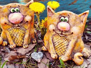 Коты «Под керамику» для декора дома (папье-маше). Ярмарка Мастеров - ручная работа, handmade.
