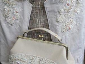 «Сверкающий Лёд»: украшаем жакет и сумочку кордовым кружевом, бисером и кристаллами. Ярмарка Мастеров - ручная работа, handmade.