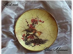 """Декоративная тарелка """"Птички"""". Ярмарка Мастеров - ручная работа, handmade."""
