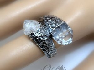 Серебряное кольцо с херкимерскими алмазами. Ярмарка Мастеров - ручная работа, handmade.