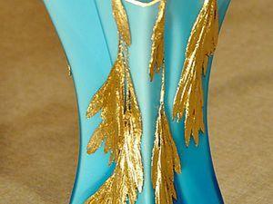 Эффектный декор стеклянной вазы «Золотой дождь». Ярмарка Мастеров - ручная работа, handmade.