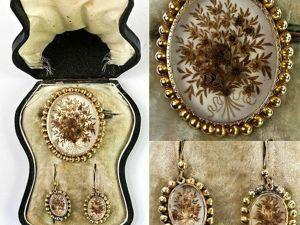 Викторианские траурные украшения из волос. Ярмарка Мастеров - ручная работа, handmade.