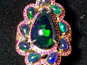 Видео  « Аэлита»  шикарное кольцо с роскошными опалами. Ярмарка Мастеров - ручная работа, handmade.