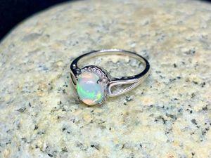 Серебряное кольцо с опалом, размер 17 и 19. Ярмарка Мастеров - ручная работа, handmade.