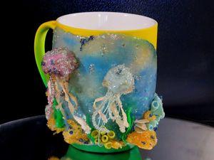 Создаем декор кружки «Медузы» из полимерной глины. Ярмарка Мастеров - ручная работа, handmade.
