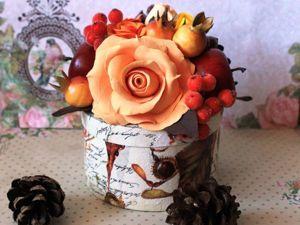 Шкатулка с букетом цветов из полимерной глины в осенних тонах. Ярмарка Мастеров - ручная работа, handmade.