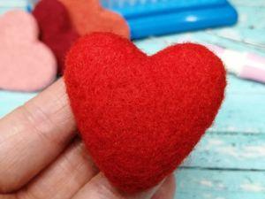 Валяем сердечко из шерсти. Ярмарка Мастеров - ручная работа, handmade.