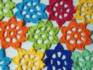 Вяжем разноцветный цветочный плед. Ярмарка Мастеров - ручная работа, handmade.