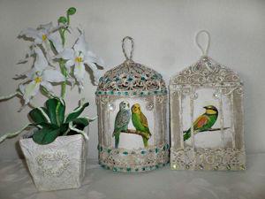 Мастерим декоративное панно «Птичка в клетке». Ярмарка Мастеров - ручная работа, handmade.