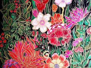 Картина  «Ночь в саду»  в стиле модерн и ар-нуво. Ярмарка Мастеров - ручная работа, handmade.