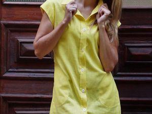 Платье рубашка желтого цвета. Ярмарка Мастеров - ручная работа, handmade.