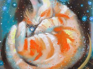 Рисуем котенка. Живопись маслом. Новая картина  «Милое солнышко прилегло отдохнуть». Ярмарка Мастеров - ручная работа, handmade.