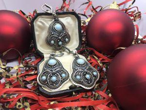 Комплект из серебра с бирюзой (авторская работа). Ярмарка Мастеров - ручная работа, handmade.