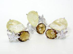 Серьги и кольцо с рутиловым кварцем, раухтопазом серебряные. Ярмарка Мастеров - ручная работа, handmade.