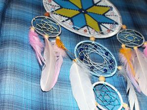Плетем ловца снов с изображением славянского символа «Звездная половинка». Ярмарка Мастеров - ручная работа, handmade.
