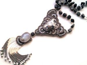 Аукцион на вышитый бисером кулон  «Серый волк»  с натуральными камнями — закрыт. Ярмарка Мастеров - ручная работа, handmade.