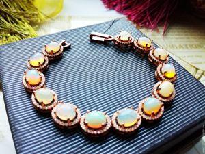 Скидка на позолоченный браслет с опалами Эфиопии!!!. Ярмарка Мастеров - ручная работа, handmade.