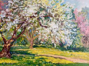 Яблоня в цвету — пейзаж с натуры. Весенние работы уже в магазине. Ярмарка Мастеров - ручная работа, handmade.