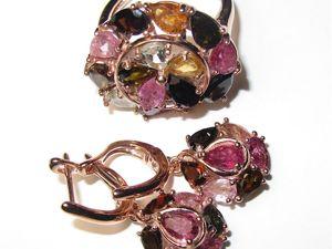 Серьги и кольцо с турмалином серебряные. Ярмарка Мастеров - ручная работа, handmade.