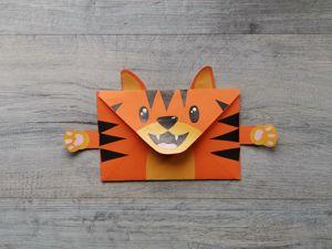 Делаем конверт  «Тигренок». Ярмарка Мастеров - ручная работа, handmade.
