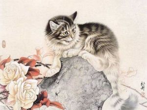 Кошки в живописи художника Xu Xin. Ярмарка Мастеров - ручная работа, handmade.