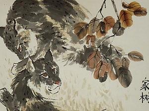 Две рыси под осенним деревом.. Ярмарка Мастеров - ручная работа, handmade.