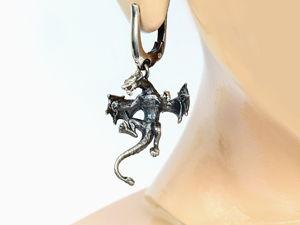 Виверны — серьги с фантастическими существами (повтор). Ярмарка Мастеров - ручная работа, handmade.