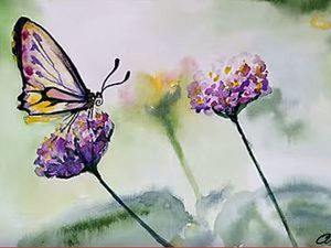 """Видео мастер-класс: рисунок акварелью """"Бабочка"""". Ярмарка Мастеров - ручная работа, handmade."""