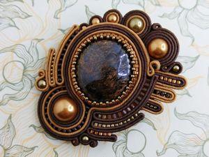 Брошь с астрофиллитом (видео и фотографии). Ярмарка Мастеров - ручная работа, handmade.