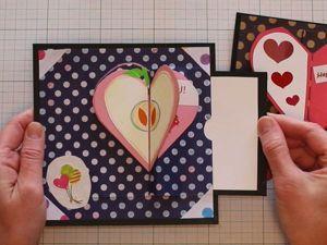 Видео мастер-класс: как сделать необычную открытку с «раскрывающимся» сердечком на День святого Валентина. Ярмарка Мастеров - ручная работа, handmade.