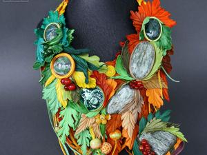 Комплект  «Теплая осень»  украшения из кожи. Ярмарка Мастеров - ручная работа, handmade.