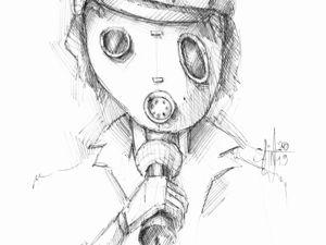 День 220. Набросок ручкой  «Открытый микрофон». Ярмарка Мастеров - ручная работа, handmade.