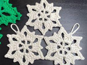 Вязаная Снежинка из трикотажной пряжи. Ярмарка Мастеров - ручная работа, handmade.