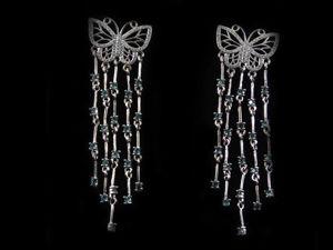 Аукцион на Серьги  «Бабочки»  с Лондон Топазом и Цирконом. Ярмарка Мастеров - ручная работа, handmade.