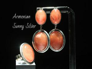 Кольцо и серьги Иванесса с розовым кварцем из серебра 925. Ярмарка Мастеров - ручная работа, handmade.