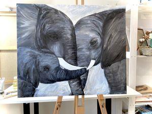 Картина слон маслом, семья слонов (видео). Ярмарка Мастеров - ручная работа, handmade.