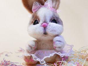 Валяный зайка, розовое настроение. Ярмарка Мастеров - ручная работа, handmade.