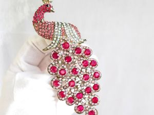 Видео. Брошь-кулон Розовый павлин,Китай. Ярмарка Мастеров - ручная работа, handmade.