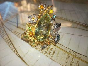 Видео Кольцо  «Дивно прекрасный цветок»  с зеленым аметистом. Ярмарка Мастеров - ручная работа, handmade.