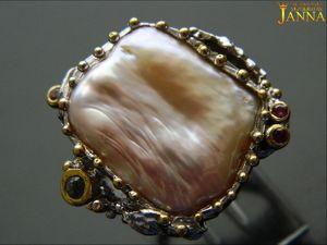 Жемчуг.  «Амелия»  кольцо с крупной жемчужиной 92 карат. Ярмарка Мастеров - ручная работа, handmade.